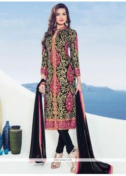 Prodigious Embroidered Work Black Churidar Designer Suit