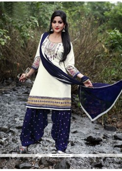 Dainty Off White Embroidered Work Punjabi Suit