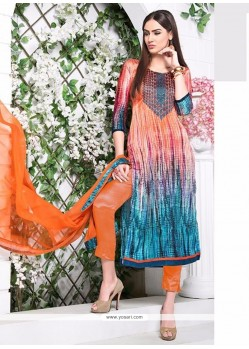 Heavenly Satin Multi Colour Pant Style Suit