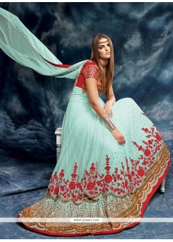 Dashing Turquoise Designer Floor Length Salwar Suit