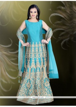 Invaluable Tafeta Silk Sea Green Embroidered Work Readymade Gown