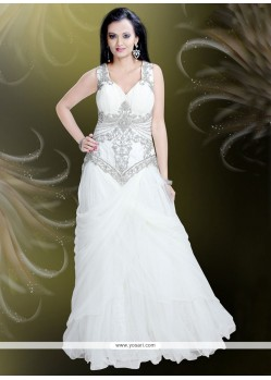 Sonorous Net Embroidered Work Readymade Gown