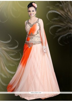 Picturesque Net Brasso Embroidered Work Readymade Gown