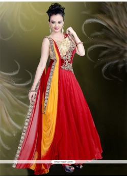 Irresistible Net Embroidered Work Red Readymade Gown