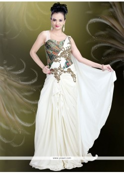 Exotic Lycra Embroidered Work Readymade Gown