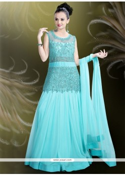 Divine Embroidered Work Satin Turquoise Readymade Gown