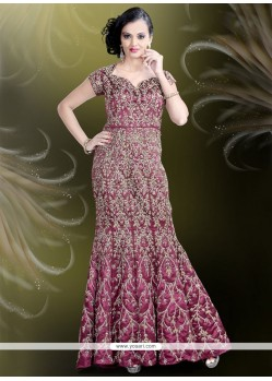 Stunning Embroidered Work Satin Purple Readymade Gown