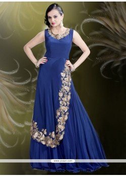 Princely Navy Blue Pure Crepe Embroidered Work Readymade Gown