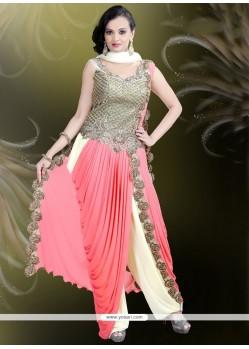 Delightful Lycra Cream Readymade Gown
