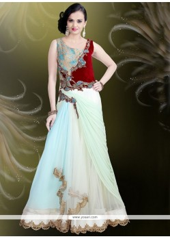 Off White Net Readymade Gown