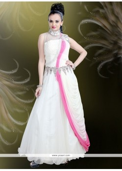 Net Off White Embroidered Work Readymade Gown