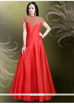 Conspicuous Red Embroidered Work Readymade Gown