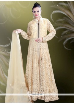 Tempting Net Beige Readymade Gown