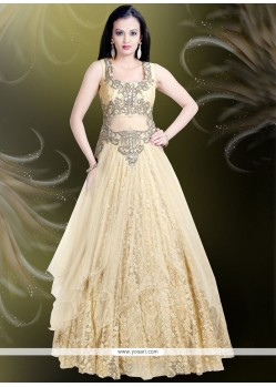 Amusing Beige Embroidered Work Readymade Gown