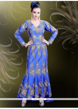 Stupendous Raw Silk Blue Readymade Gown