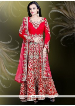 Princely Velvet Embroidered Work Readymade Gown