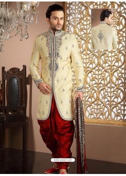 Fancy Look Cream Banarasi Silk Sherwani