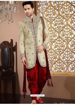 Stunning Cream Pure Banarasi Silk Sherwani