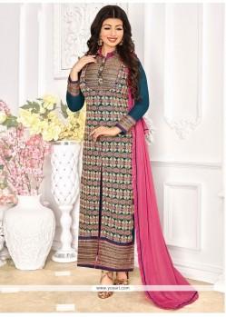 Gleaming Multi Colour Resham Work Georgette Designer Straight Suit