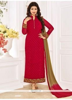 Dainty Red Designer Straight Suit