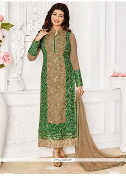Competent Georgette Beige And Green Embroidered Work Designer Straight Suit