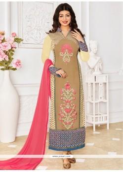 Ayesha Takia Beige Designer Straight Suit