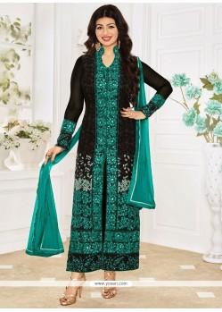 Ayesha Takia Black Georgette Designer Straight Suit