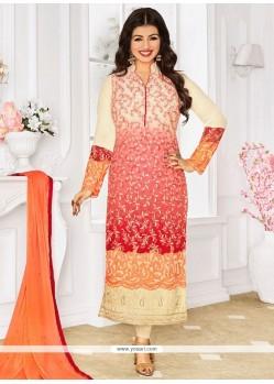 Ayesha Takia Embroidered Work Georgette Designer Straight Suit