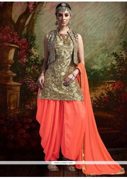 Classy Grey And Orange Readymade Suit