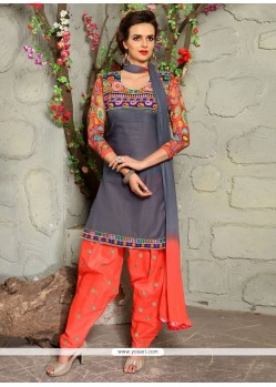 Engrossing Embroidered Work Grey Punjabi Suit