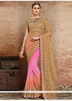 Intrinsic Orange And Pink Resham Work Georgette Designer Half N Half Saree