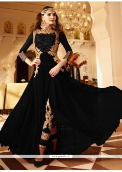Prime Faux Georgette Black Embroidered Work Designer Floor Length Suit