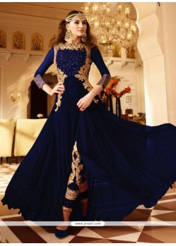 Blue Faux Georgette Designer Floor Length Suit