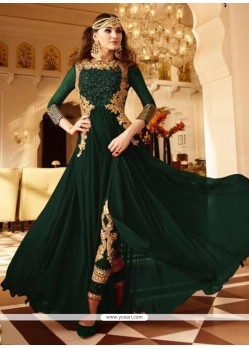 Astonishing Faux Georgette Green Designer Floor Length Suit