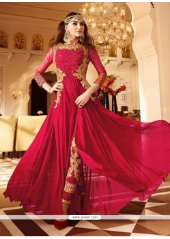 Hot Pink Faux Georgette Designer Floor Length Suit