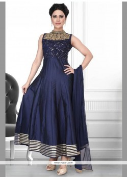 Noble Net Embroidered Work Anarkali Suit