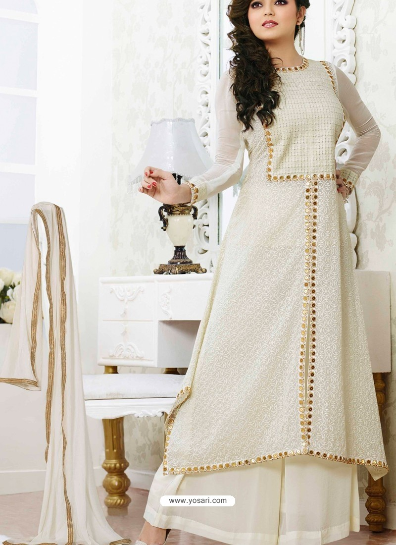 Off White Georgette Pakistani Suits Pakistani Suits Online