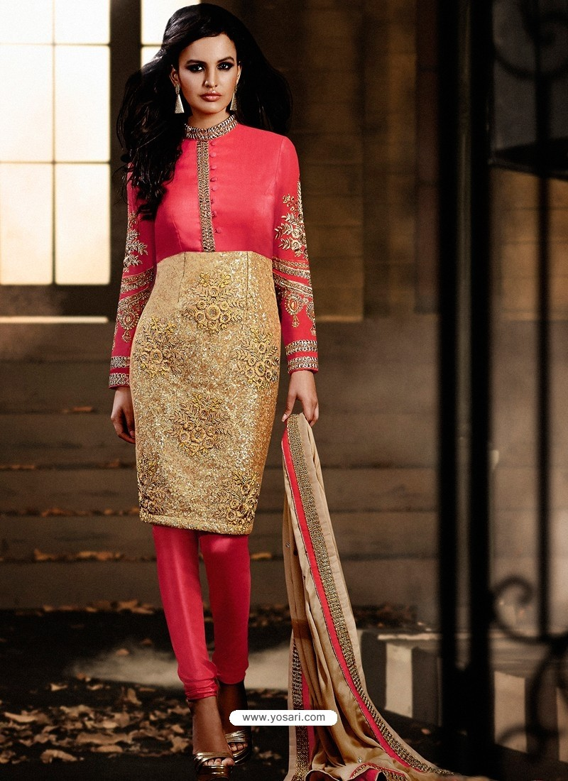 Pink And Golden color Bhagalpuri Silk Churidar Suit | Churidar