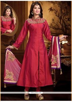 Praiseworthy Resham Work Art Silk Magenta Readymade Anarkali Salwar Suit