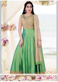 Stupendous Art Silk Green Readymade Anarkali Salwar Suit