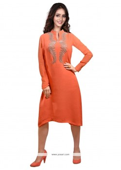 Astounding Embroidered Work Faux Georgette Party Wear Kurti
