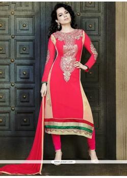 Red Georgette Churidar Suit