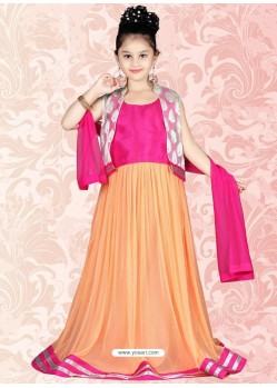 Significant Orange Net Salwar Kameez