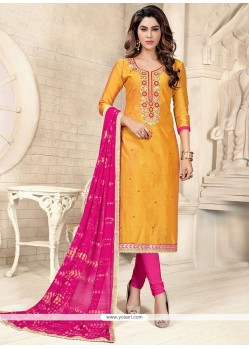 Enthralling Chanderi Cotton Hot Pink And Yellow Churidar Suit