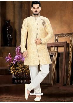 Astonishing Creamish White Jacquard Sherwani