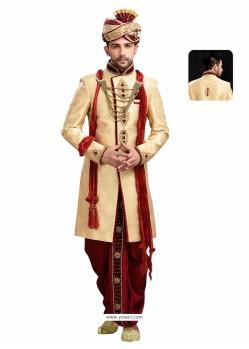Perfect Cream Wedding Sherwani