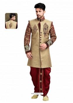 Scintillating Brown Wedding Sherwani