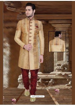 Awesome Brown Silk Sherwani
