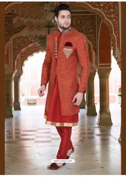 Flattering Maroon Churidar Sherwani