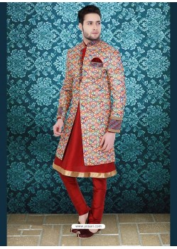 Eye-catching Multi Colored Jute Sherwani